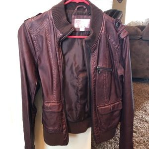 Brown/Red faux leather jacket